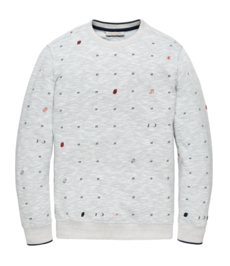Cast Iron fleece sweater met flockprint CSW202406-940