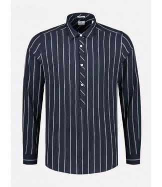 Dstrezzed gestreept overhemd marine 303326-649