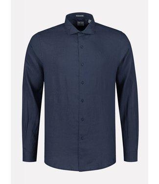 Dstrezzed linnen overhemd donkerblauw 303300-669