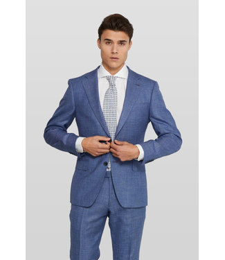 Van Gils linnen look kostuum blauw