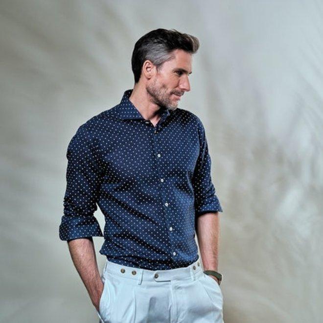 Donkerblauw print Overhemd 5139188-180