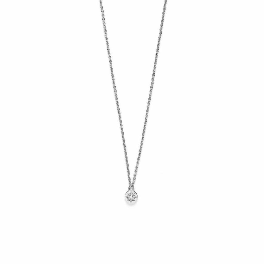 Compass Necklace Silver Plated-1