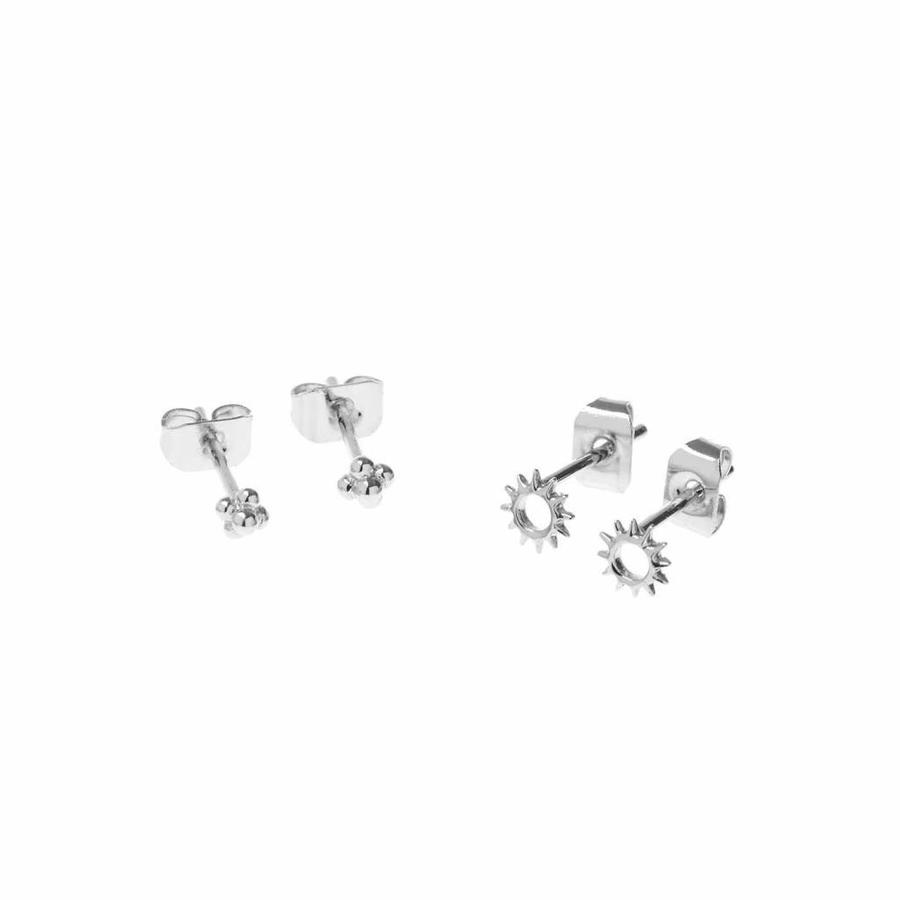 Rise and Shine Studs Silver Plated-1