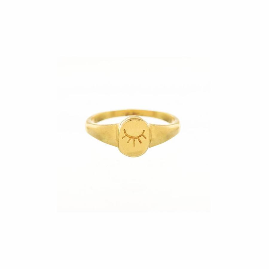 Unwind Signet Ring Gold-1