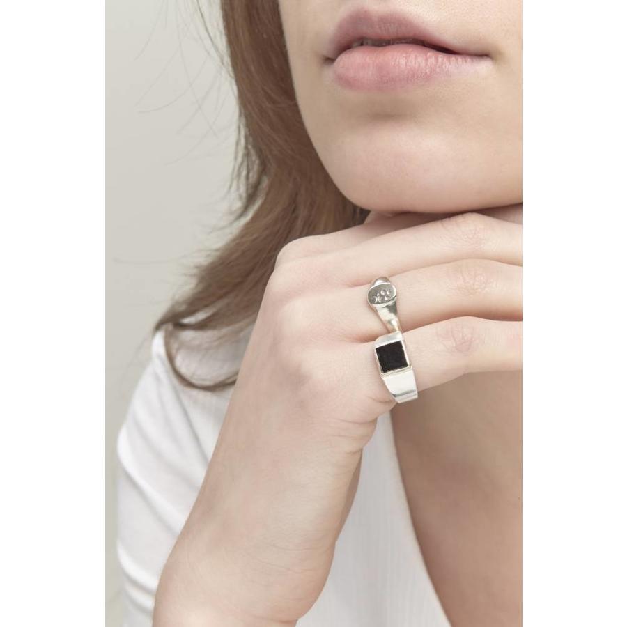 Stellar Signet Ring Zilver-5