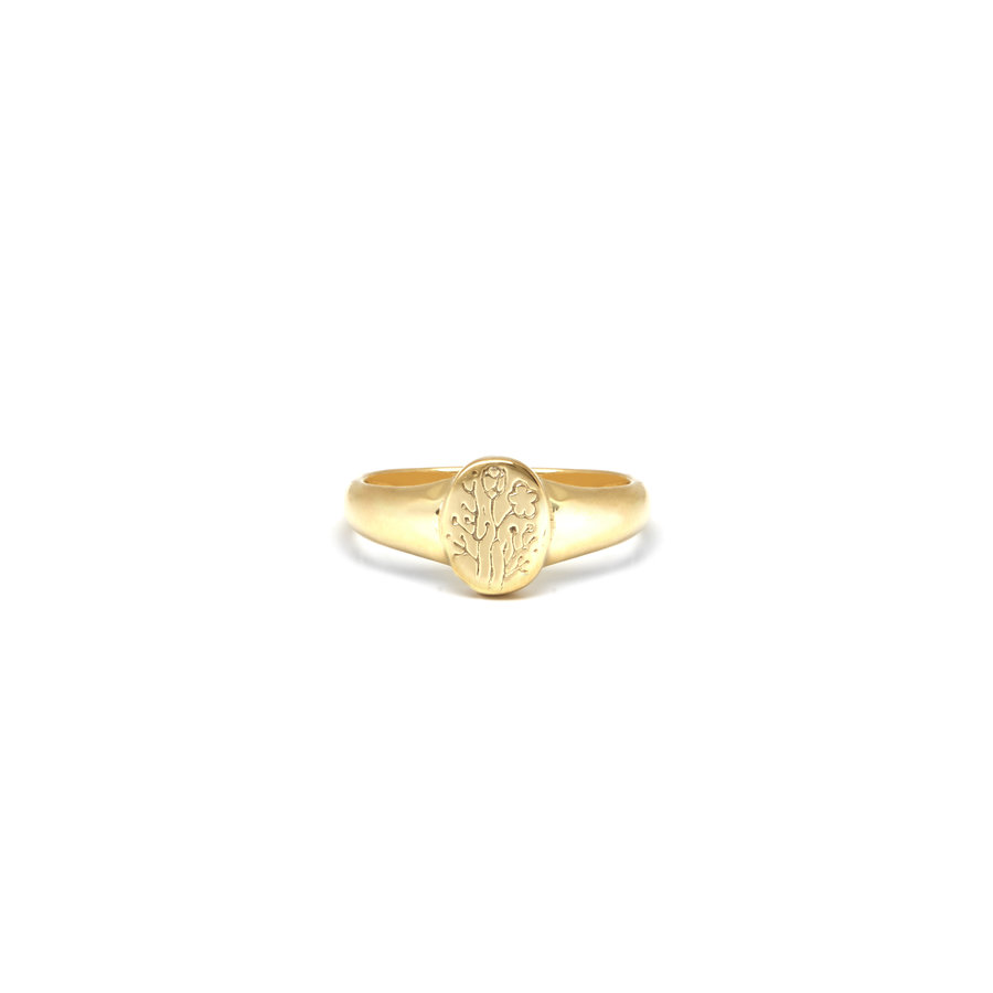 Wildflower Signet Ring Gold Plated-1