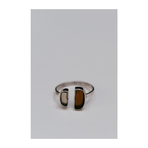 Amber Ring Zilver