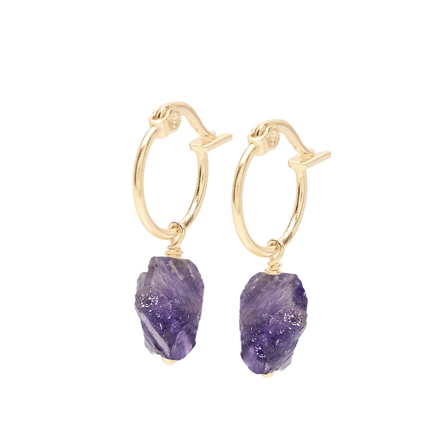 Violet Hoops Gold Plated-1