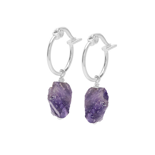 Violet Hoops Silver Plated