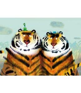 Fotobehang Two Tigers