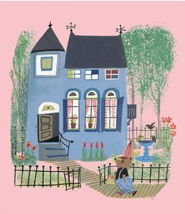Fotobehang Bear with Blue House