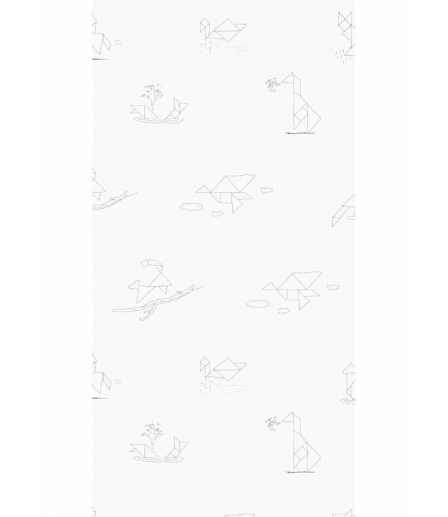 Wallpaper for kids Tangram Animal Sketches
