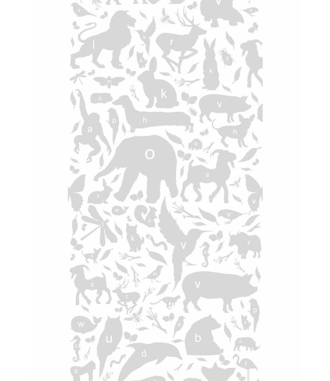 Wallpaper for kids ABC Animals, Light Grey