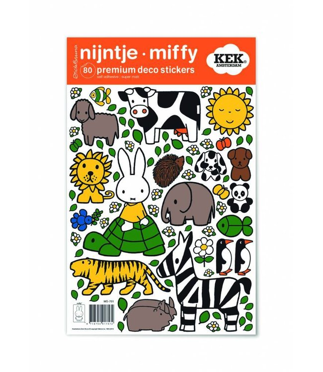 Miffy wall stickers Miffy riding on turtle, 21 x 33 cm