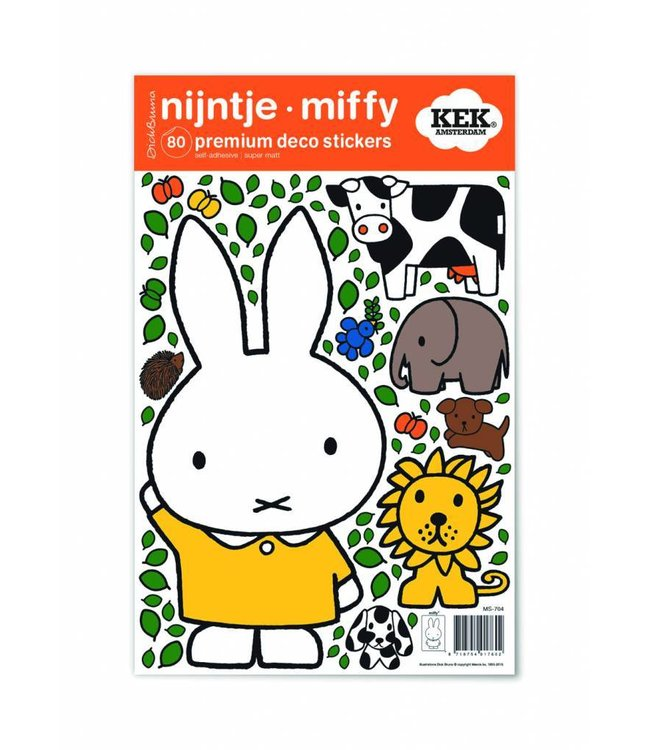 Miffy Wandtattoos Miffy with animals, 21 x 33 cm