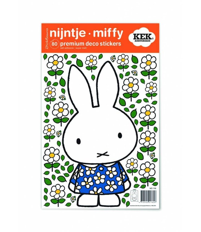 Miffy Wandtattoos Miffy with Blue flower dress, 21 x 33 cm