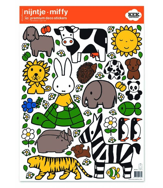 Miffy wall stickers Miffy riding on turtle, 42 x 59 cm