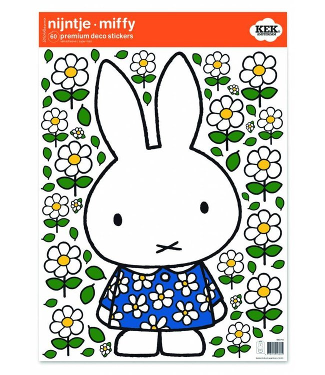 Miffy Wandtattoos Miffy with Blue flower dress, 42 x 59 cm