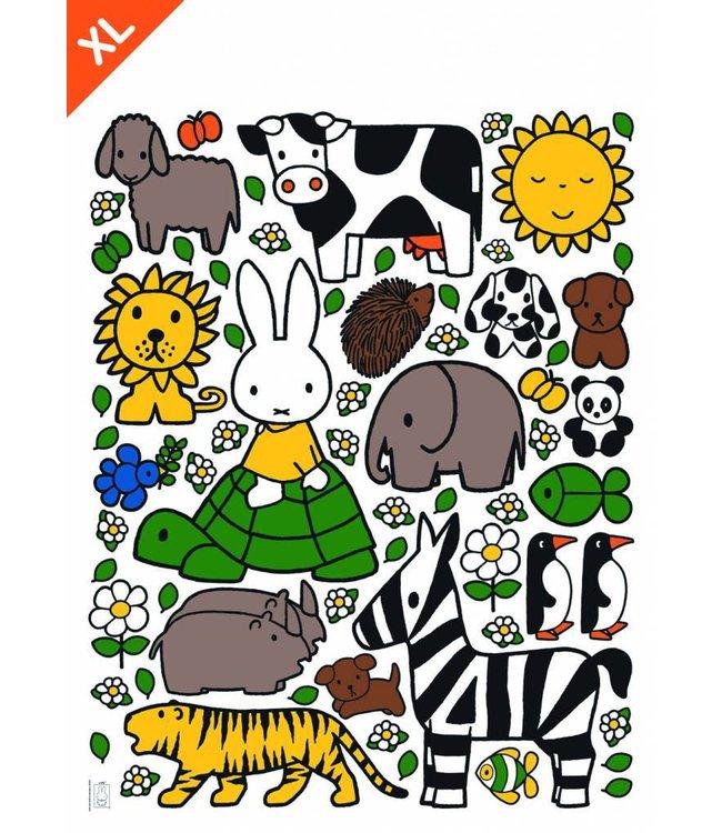 Miffy Wandtattoos Miffy with animals XL, 94 x 120 cm