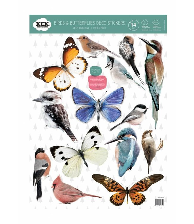 Set Wandtattoos Birds & Butterflies, 42 x 59 cm