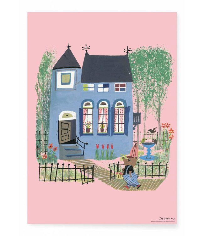 Poster Bear with Blue house, 42 x 59.4 cm