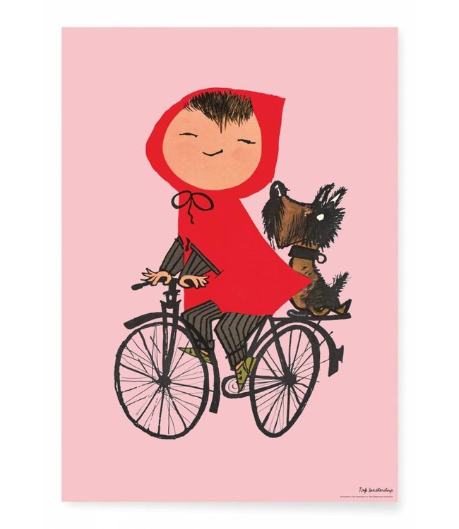 Poster Riding my Bike, Rosa, 42 x 59.4 cm