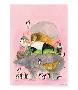 Poster Jumping Pinguïns