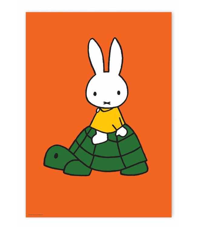 Poster Miffy riding on turtle, 42 x 59.4 cm