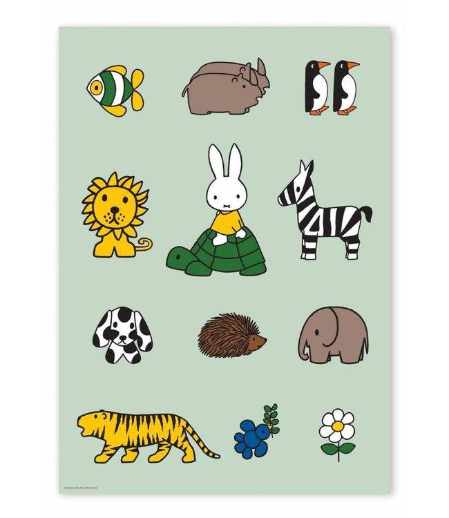 Poster Miffy with animals, 42 x 59.4 cm