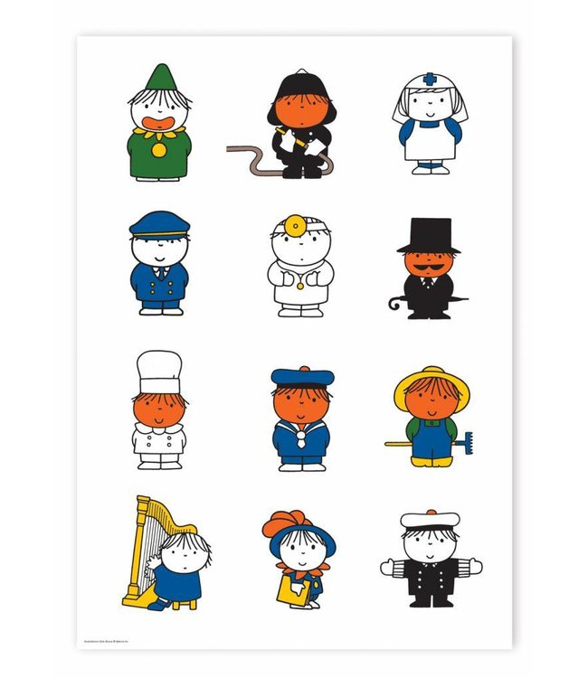 Poster Dick Bruna's various characters, 42 x 59.4 cm