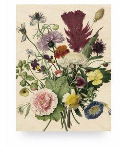 Print op hout Wild Flowers, M