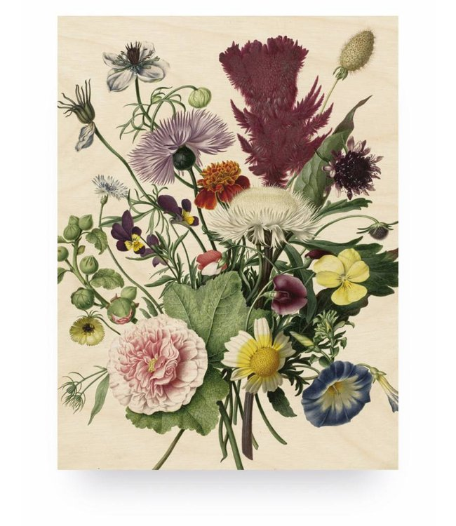 Wood print, Wild Flowers, M, 60 x 80 cm