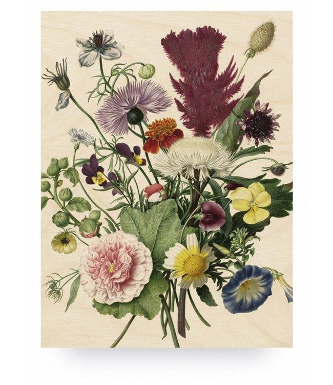 Print op hout, Wild Flowers, L, 75 x 100 cm