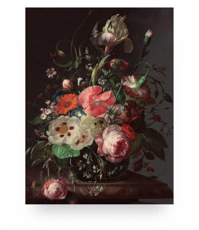 Print op hout, Golden Age Flowers, S, 45 x 60 cm