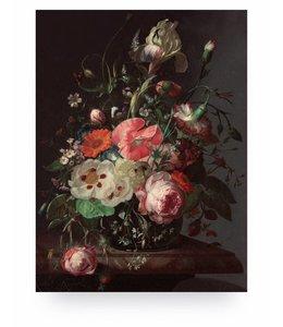 Print op hout Golden Age Flowers, M