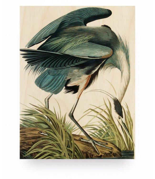 Print op hout, Reiger/Heron in gras, S, 45 x 60 cm