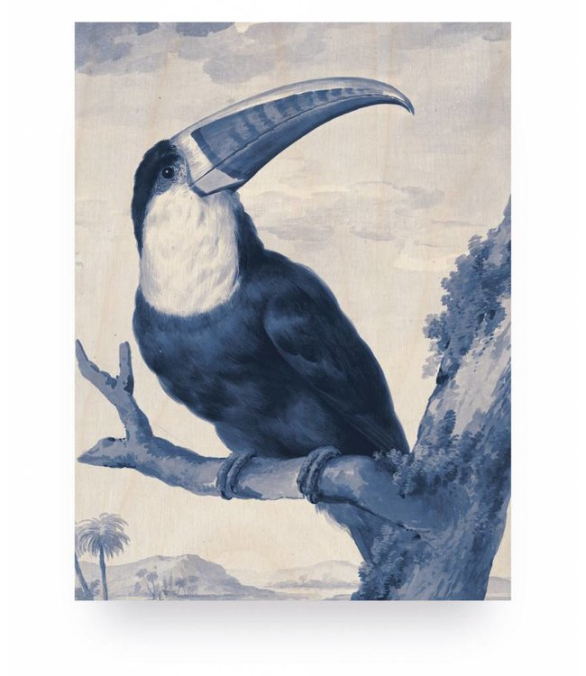 Wood print, Royal Blue Toucan, S, 45 x 60 cm