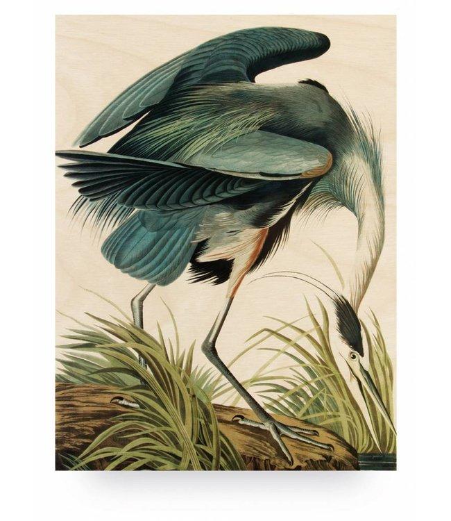 Prints auf Holz, Heron in gras, L, 75 x 100 cm