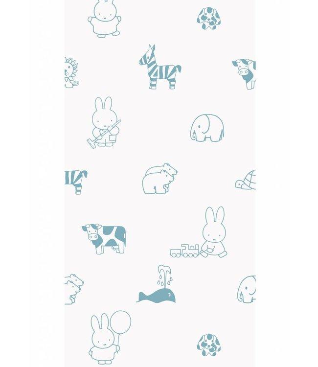 Dick Bruna Miffy tapete Animals, Blau, 97.4 x 280 cm