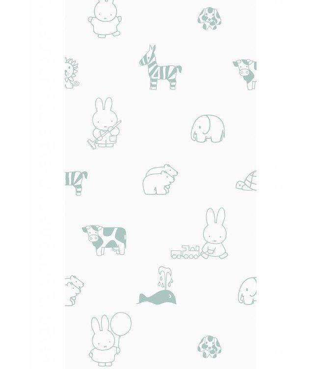 Dick Bruna Miffy tapete Animals, Grün, 97.4 x 280 cm