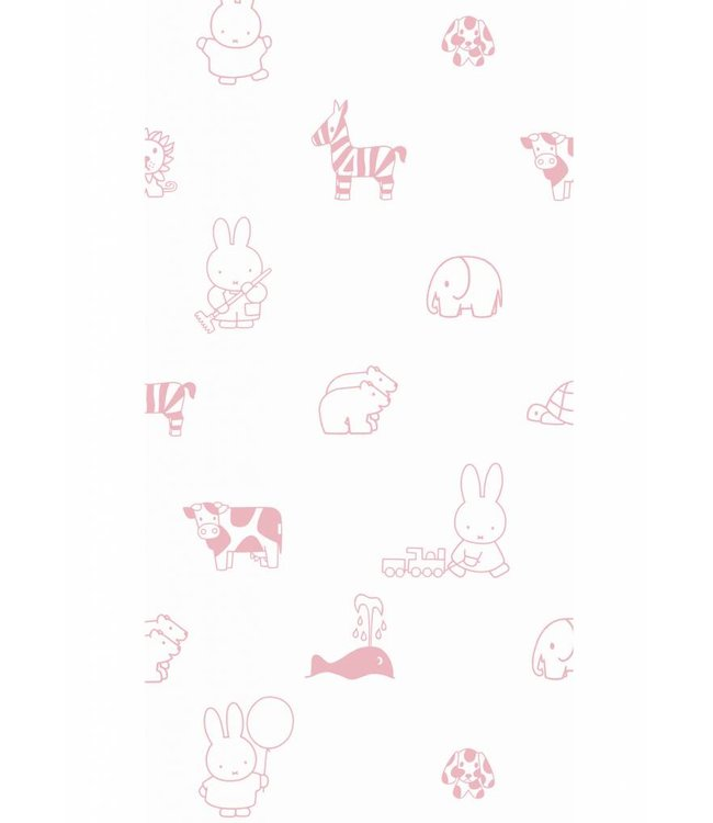 Miffy wallpaper Animals, Pink, 97.4 x 280 cm