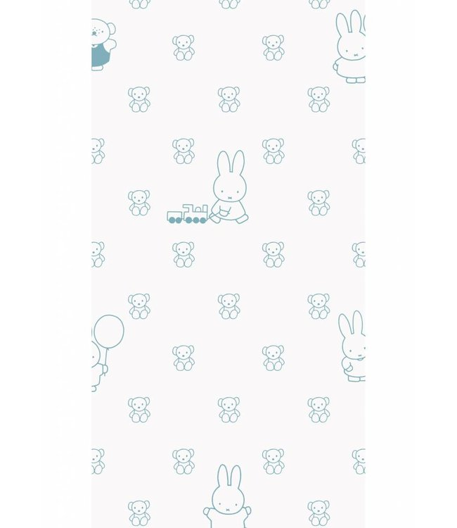 Dick Bruna Miffy wallpaper Bears, Blue, 97.4 x 280 cm