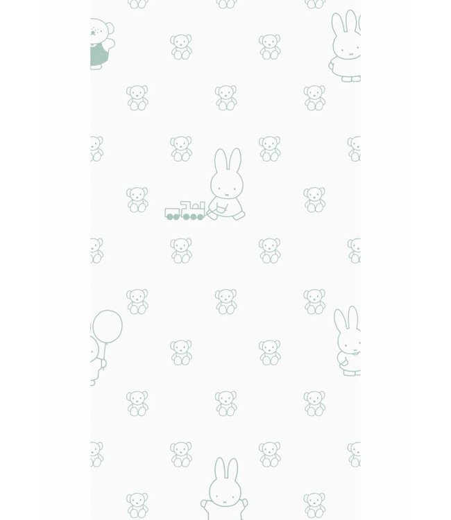 Miffy wallpaper Bears, Green, 97.4 x 280 cm