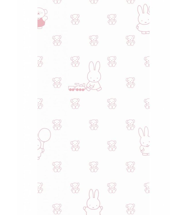 Dick Bruna Miffy tapete Bears, Rosa, 97.4 x 280 cm