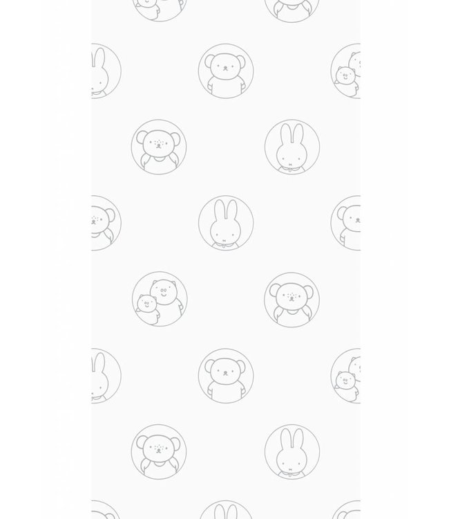 Miffy wallpaper Portraits, Grey, 97.4 x 280 cm