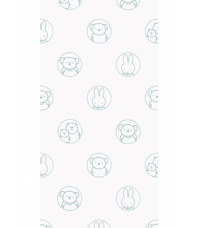 Dick Bruna Miffy tapete Portraits, Blau, 97.4 x 280 cm