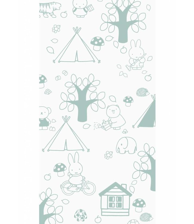 Miffy wallpaper Outdoor Fun, Green, 97.4 x 280 cm