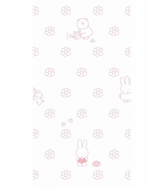 Dick Bruna Miffy tapete Flowers, Rosa, 97.4 x 280 cm