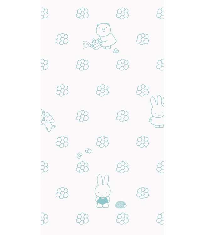Miffy tapete Flowers, Mint, 97.4 x 280 cm