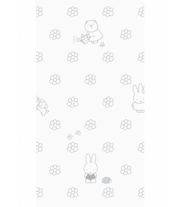 Dick Bruna Miffy wallpaper Flowers, Grey